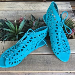 Bamboo Teal Suede Cutout Festival Lace Up Sandals